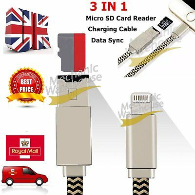 USB i-Flash Drive Lightning Data Cable TF Micro Memory SD Card Reader for iPhone