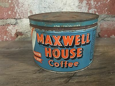 Vintage Maxwell House Coffee Tin with Lid 1 pound - Collectible Tin