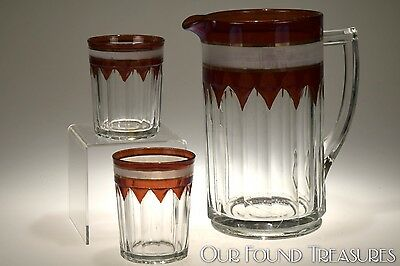 c 1906 No. 97 OLD COLONY New Martinsville RUBY STAINED Water Pitcher & Tumblers
