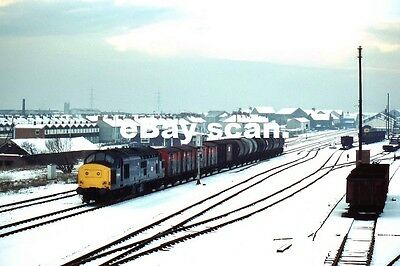 LLANELLI RAILWAY STATION, CLASS 37, 37-303 FREIGHT .  1985 dated photo