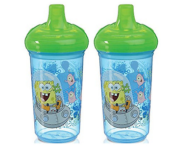 Munchkin Sippy Cup, SpongeBob Squarepants LOT OF 2 Spill Proof