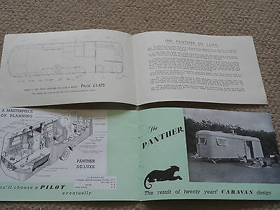 1951 Pilot Panther Caravan Sales Brochure And Price List, Mint Condition