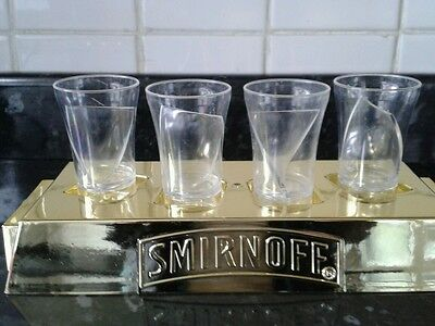 Smirnoff shot paddle gold  4 plastic shot glasses party home bar gift