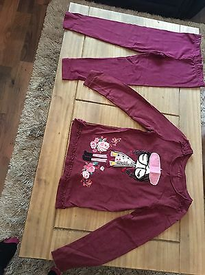 Girls Maroon Coloured Too And Leggings Set, Age 7-8 From Nutmeg