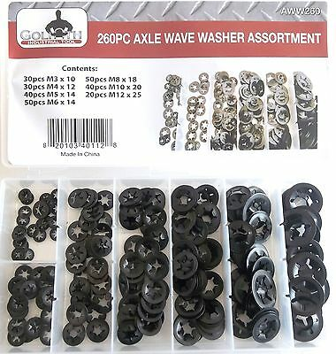 260pc GOLIATH INDUSTRIAL AXLE WAVE WASHER ASSORTMENT AWW260 NUT BOLT SPRING BENT