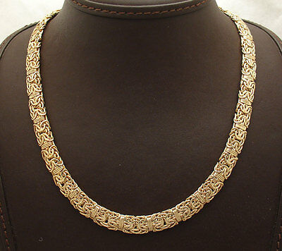 "18"" Technibond Mirror Byzantine Chain Necklace 14K Yellow Gold Clad 925 Silver"