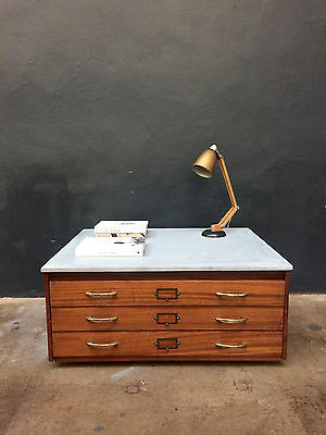 Vintage 60s Plan Chest Coffee Table Drawers. Map. Retro. Industrial Shop Fit