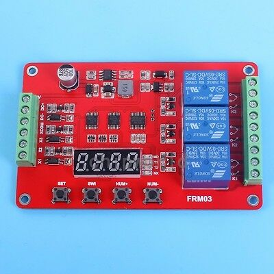 FRM03 3-Channel Relay Module Cycle Delay Timing On-Off Self-Lock DC 12V 24V