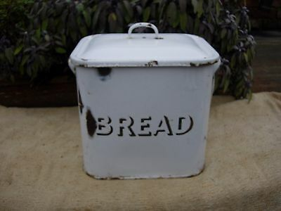 Large Vintage White Enamel Bread Bin- Original