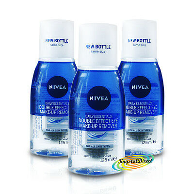 3x Nivea Daily Double Effect Waterproof Eye Mascara Make Up Remover 125ml