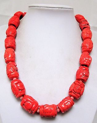 Magnificent vintage large carved coral bead necklace