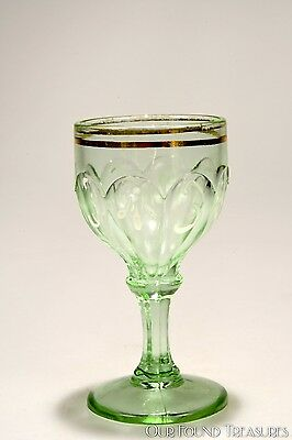 c. 1902 NESTOR by Northwood Glass APPLE GREEN URANIUM H.P. Wine Stem
