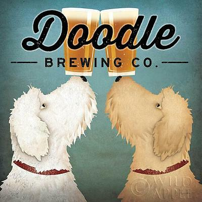 """LABRADOODLE DOG ART PRINT RETRO STYLE ADVERT POSTER """"Doodle Brewing Co"""""""