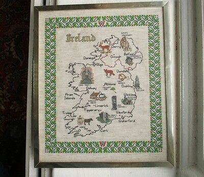 Old Vintage Sampler Tapestry Ireland Map Eire Irish Embroidery Framed Hand Sewn