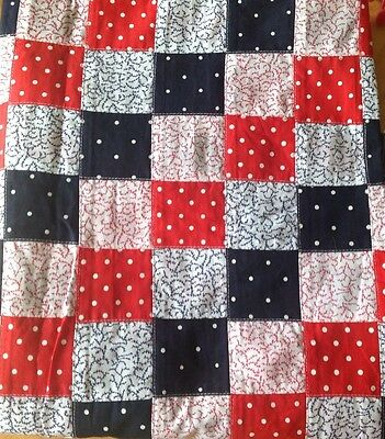Red. White and Navy Machine Patchwork Cotton Fabric 110cm x 114cm