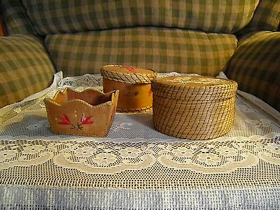 3 Different  Style of Porcupine Quill Birch Bark Boxes ,