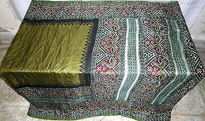Henna Green Pure Silk 4 yard Vintage Sari Saree HOT BARGAIN DEAL Good US #OIB3E