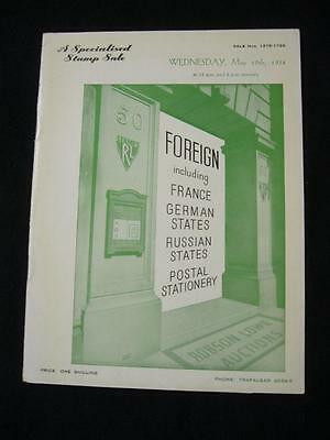 Robson Lowe Auction Catalogue 1954 France German States & Russia States
