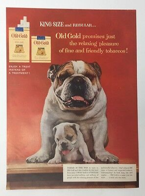 Original Print Ad 1954 OLD GOLD Cigarettes King Size Dogs Watch Puppy