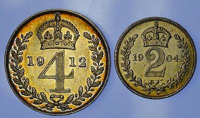 England - 1912 and 1904 Maundy 4 pence and 2 pence coins