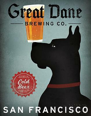 GREAT DANE BREWING Co. BLACK DOG ART PRINT RETRO STYLE ADVERT POSTER Cold Beer