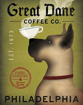GREAT DANE COFFEE Co. FAWN DOG ART PRINT RETRO STYLE ADVERT POSTER Philadelphia