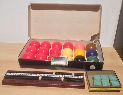 Vintage Crystalate Snooker & Billiard Set with Score Counter and Chalk
