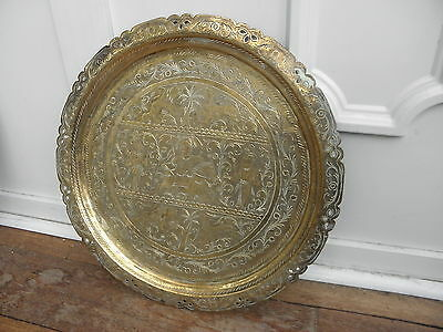"Large 16"" Antique Brass Hand Engraved Chased Tray Plate Persian Lion Hunting"