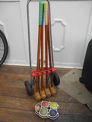 Vintage 4 Player Childs Outdoor Croquet Set With Trolley