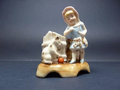 Victorian Match Striker Fairing / Spill Girl and Cat Playing with ball