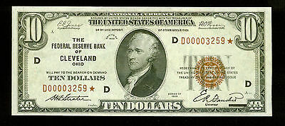 1929 National Currency  Cleveland  Brown Seal *Star Note*