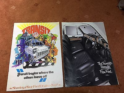 2 x Ford Transit 9-12-15 Seaters & Crewbuses Brochures 70's 1972