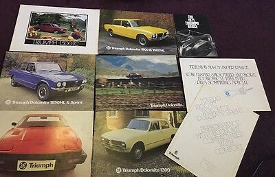 9 x Triumph brochures Stag, Toledo, 1500, TR6, Spitfire, 1850HL & Sprint, 2500S