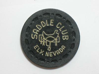 SADDLE CLUB - ELY NEVADA - $5 CASINO GAMING CHIP - SCROWN MOLD 1970s
