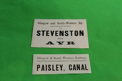 Glasgow And South Western Railway Luggage Labels Lot Of 2 Labels