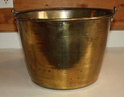 Vtg/antique Primitive Brass Kettle Pail Apple Bucket #2