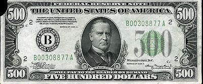 $500 Federal Reserve Note Series 1934 A B00308877A FR2202