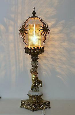 Vintage Mid Century Accurate Cast Brass Ornate Glass Shade Flower Table Lamp