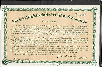 State Of Bahia South Western Railway Co. Certificate - 1923 - Nice For Framing