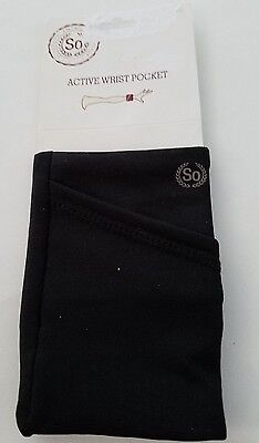 Womens So Brand Black Active Wrist Pocket Sports Money credit card One Size