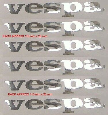 SIX  mirror chrome vinyl retro style vespa decals .lx px gtv .SCOOTER