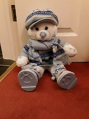 Build a bear snowflake bear.  Knitted Dress. Hat scarf & boots. Great condition