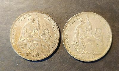 Peru   Pair Of 1927 1/2 Sol Coins With Very Nice Detail !!