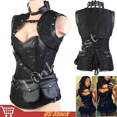 Gothic Corset Steampunk Black Bustier Fancy Lingerie Steel Boned Top Costume 2XL