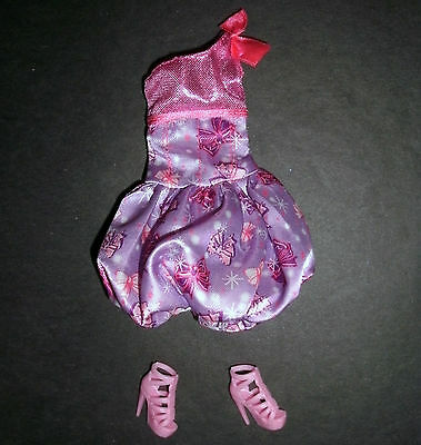Doll clothes for Barbie, My Scene: pink bubble-skirt party dress & strappy shoes