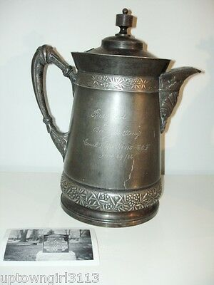 1886 CANADIAN ORDER OF FORESTERS Meriden SILVERPLATE PITCHER Ct Hope PROVENANCE
