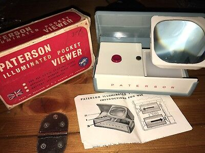"Vintage Paterson Illuminated Pocket Viewer 2x2"" Slides Boxed"