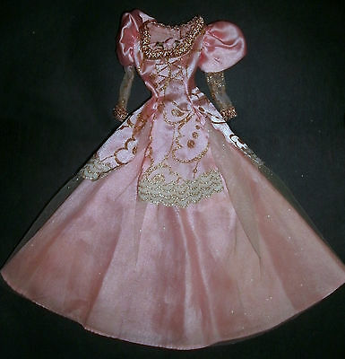 Barbie Doll clothes lot: Pink & gold princess gown long dress, skirt & tunic