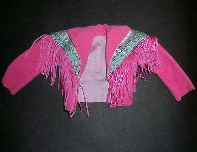 Doll clothes for Barbie, Sindy: Pink fringed 'Wesrern' jacket 1980s/90s