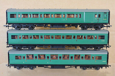 HORNBY RAKE of 3 SOUTHERN SR MAUNSELL COMPOSITE 2nd & BRAKE COACH nj